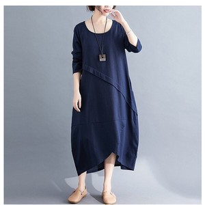 One-piece Dress Ladies Cotton One-piece Dress Leisurely Long Sleeve Body Type A3