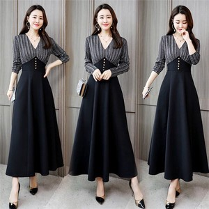 One-piece Dress Long Sleeve Neck One-piece Dress Flare Skirt Wedding A3