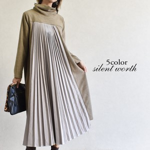 A/W Pleats Material Switching One-piece Dress
