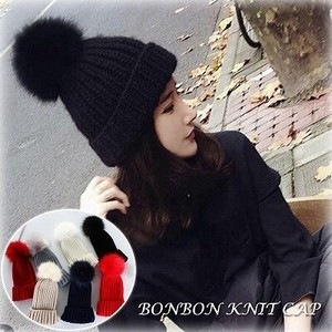Knitted Hat Ladies Bonbon Hats & Cap Ladies A/W Knitted Cap Hats & Cap Red