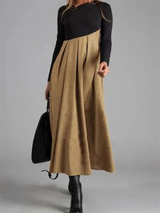 A/W Ladies Long Sleeve V-neck Long Skirt
