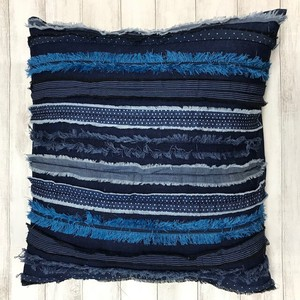Multi Stripe Denim Cushion
