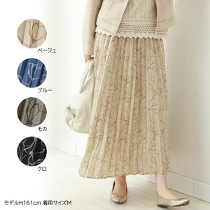 Line Drow Floral Pattern Accordion Pleats Skirt Spring Items