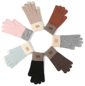 Mitten Panel Glove Ladies Wool Knitted Glove Portable Model