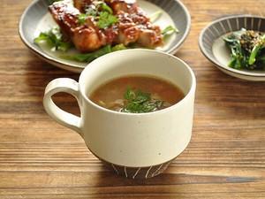 白マット黒ベルト線スープカップ【マグカップ 日本製 美濃焼 和食器】