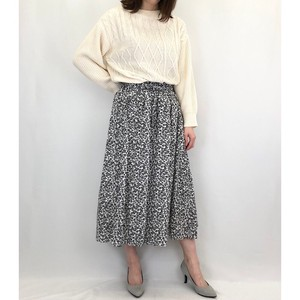 Floret Pattern Rayon Gather Skirt