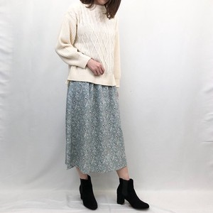 Floral Pattern Rayon Gather Skirt