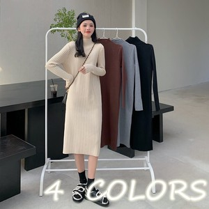 A/W One-piece Dress Ladies Knitted Adult High Neck Knitted One-piece Dress