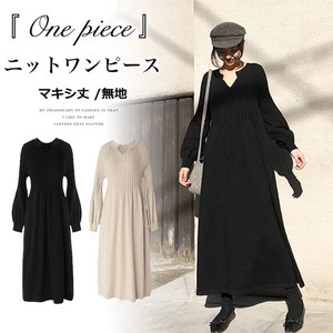 Knitted One-piece Dress Long V-neck Knitted One-piece Dress Long Sleeve Black