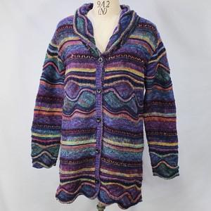 秋冬 50代 60代 ミセス セーター かすり ニット ジャケット