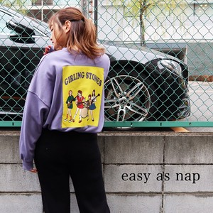 【easy as nap】【2020冬新作】GIRLING STONES 転写プリント BIGトレーナー