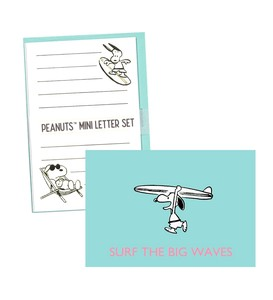 SNOOPY Peanuts Mini letter Set Envelope 3 Pcs Letter Paper 6 Pcs Snoopy Surf