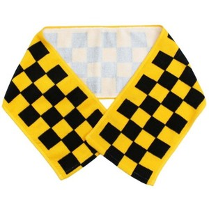Scarf Towel Slim Long Towel Checkered Yellow
