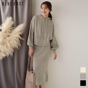Cable Knitted Hoody Knitted Skirt Suit Set