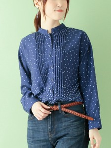 Dot Print Polyester Blouse Color