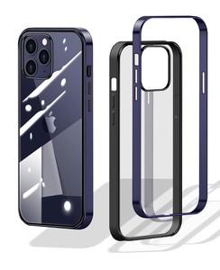 新型 iPhone ケース クリア メッキフレーム スリム (ネイビー)