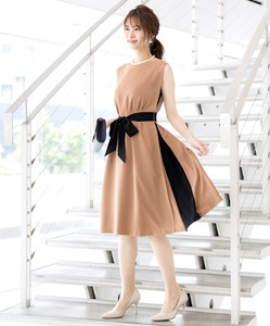 Color Scheme Design Waist Ribbon Attached Flare Band Dress Lining Attached