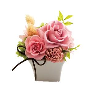 スクエアポット陶器アレンジ プリザーブドフラワー アレンンジ ピンク