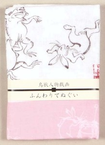 Double Gauze Hand Towel Beasts And Birds People Pink
