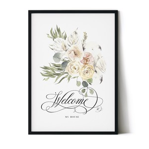 Poster Entrance Welcome Board Scandinavia Botanical Plant Flower Bouquet Watercolor