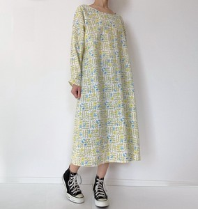 Long Sleeve One-piece Dress Rape Blossoms