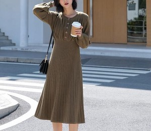 One-piece Dress Long Sleeve Knitted One-piece Dress