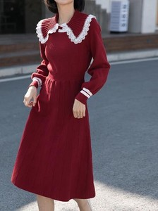 One-piece Dress Doll Color Plain Long Sleeve Knitted One-piece Dress