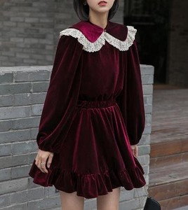 One-piece Dress Doll Long Sleeve To Tighten Velvet One-piece Dress