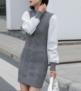 One-piece Dress Knitted Connection 2 Pcs Long One-piece Dress