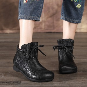 Cow Leather Flat Ankle Boots