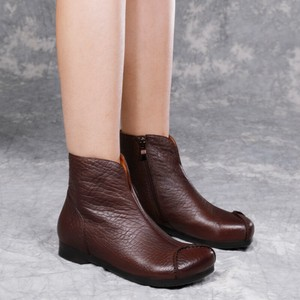 Leather Retro Shoes Round Boots