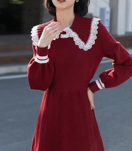 One-piece Dress Plain Long Sleeve Knitted One-piece Dress
