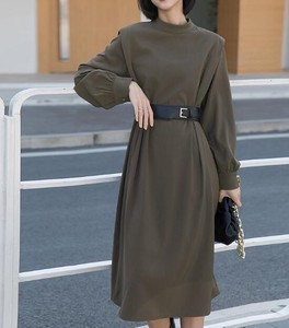 One-piece Dress High-waisted Long Sleeve Waist One-piece Dress Ladies Belt