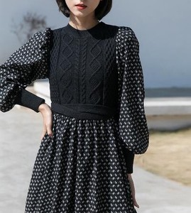 One-piece Dress Knitted Connection Long Sleeve Flower One-piece Dress