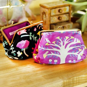 Canvas duct Coin Purse Cosme Pouch Flower