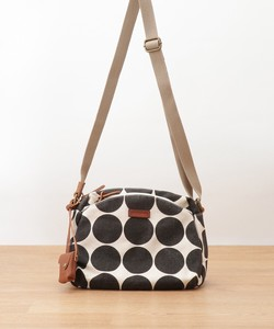 Canvas Dot Print Leather Mini Shoulder