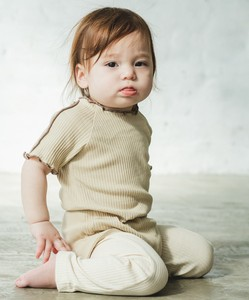 Color Scheme Mellow Cotton Short Sleeve Rompers One Point Petit Ribbon