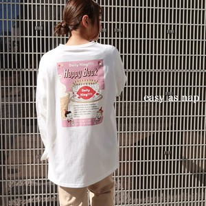 【easy as nap】【2021春新作】HAPPY BOOK プリント 前後差ロングTシャツ