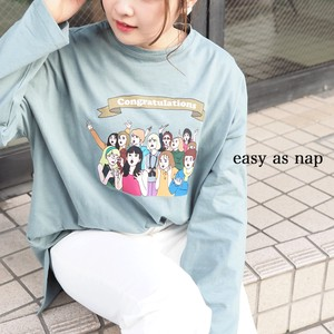 【easy as nap】【2021春新作】Congratulations 転写 プリント 前後差ロングTシャツ