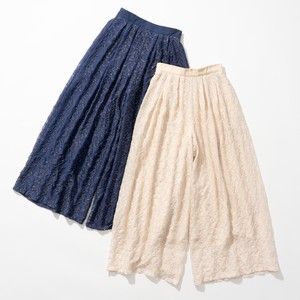 For Embroidery Chiffon wide pants 2 Colors