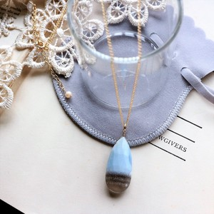 Natural stone Stripe Blue Opal Necklace