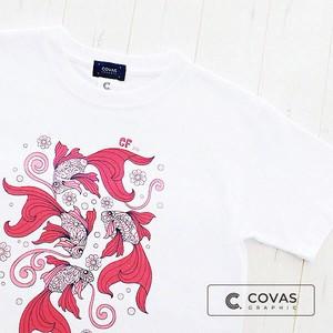 """プリントTシャツ """"舞金魚 pink"""" ホワイト 半袖 Tシャツ レディース"""