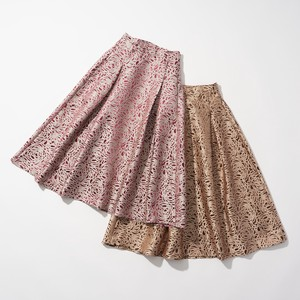 For Repeating Pattern Embroidery Jacquard Flare Skirt 2 Colors