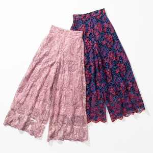 For Repeating Pattern Embroidery Lace Straight Pants 2 Colors