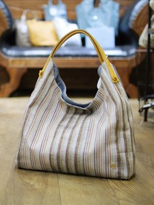 Cow Leather Attached Random Stripe Reversible Bag