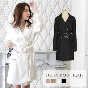 One-piece Dress Belt Attached Double Button Jacket One-piece Dress