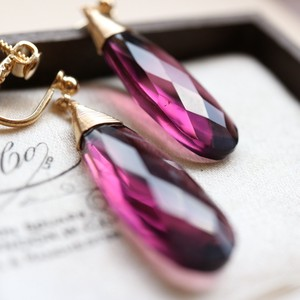 Natural stone Purple Amethyst Quartz Earring