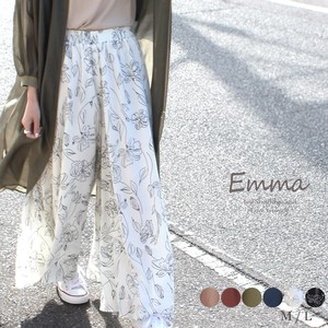 Gaucho Pants Like a Skirt Floral Pattern Plain Scants wide pants Flare Wide
