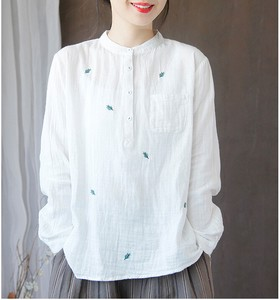 Embroidery Shirt Blouse Over Long Sleeve Top