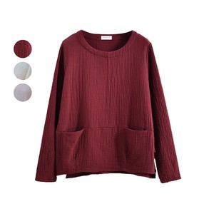 T-shirt Pocket Leisurely Plain Long Sleeve Top